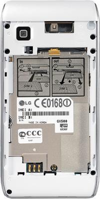 Мобильный телефон LG GX500 White - вид сзади