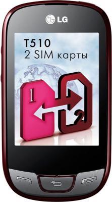Мобильный телефон LG T510 Red - вид спереди