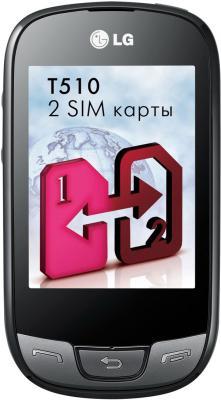Мобильный телефон LG T510 Black - вид спереди