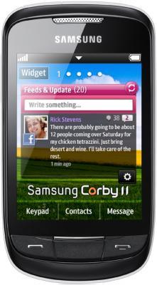 Мобильный телефон Samsung S3850 Corby II White - вид спереди