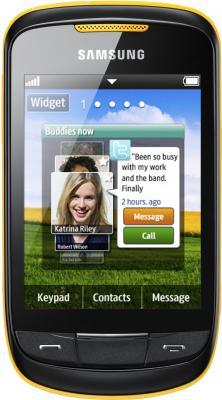Мобильный телефон Samsung S3850 Corby II Yellow - вид спереди
