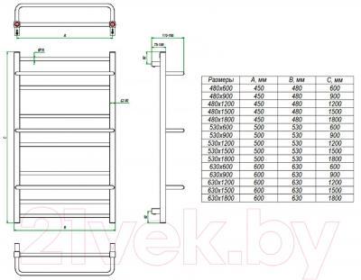Полотенцесушитель водяной Grota Vista 90x53 - схема