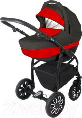 Детская универсальная коляска Adamex Active (2 в 1) (красный-графит) - общий вид