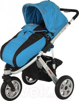 Детская универсальная коляска Adamex Quatro 3 (2 в 1) (голубой) - общий вид