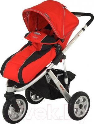 Детская универсальная коляска Adamex Quatro 3 (2 в 1) (красный) - общий вид