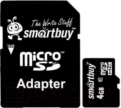 Карта памяти SmartBuy microSDHC (Class 10) 4GB + SD-адаптер (SB4GBSDCL10-01) - общий вид