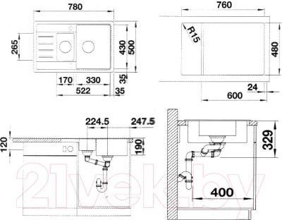 Мойка кухонная Blanco Legra 6S (520866) - схема