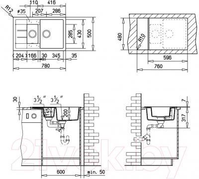 Мойка кухонная Teka Astral 60B-TG (карбон) - схема