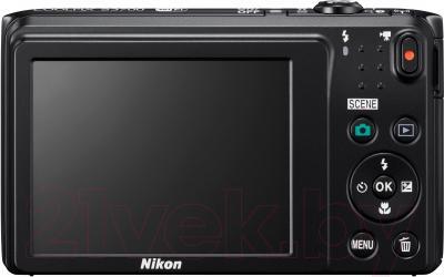 Компактный фотоаппарат Nikon Coolpix S3700 (черный) - вид сзади