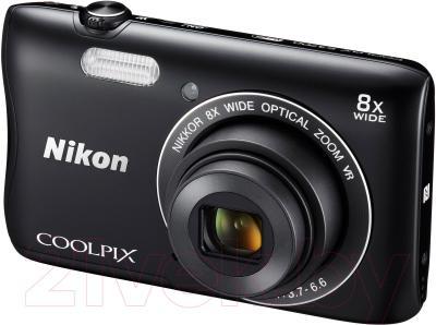 Компактный фотоаппарат Nikon Coolpix S3700 (черный) - общий вид