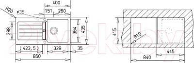 Мойка кухонная Teka Kea 45 B-TG (алюминий) - схема