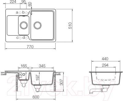Мойка кухонная Teka Luna 60 B-TG / 40145305 (карбон) - схема
