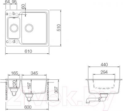 Мойка кухонная Teka Luna 60 S-TG / 40145313 (карбон) - схема