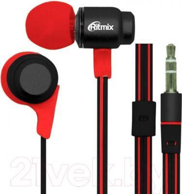 Наушники Ritmix RH-185 (черно-красный) - общий вид