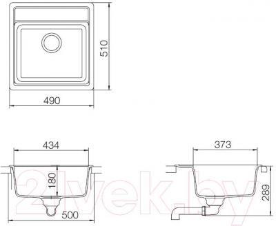 Мойка кухонная Teka Menorca 50 S-TG / 40144573 (оникс) - схема