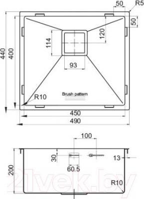 Мойка кухонная Omoikiri Taki 49-U (4993045)  - схема