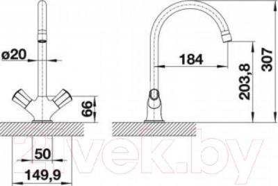 Смеситель Blanco Amona 520770 - технический чертеж