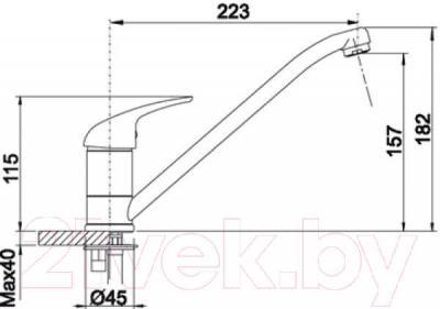 Смеситель Blanco Daras 518793 (темная скала) - технический чертеж