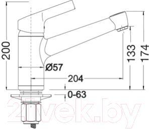 Смеситель Blanco Elipso II (хром) - технический чертеж
