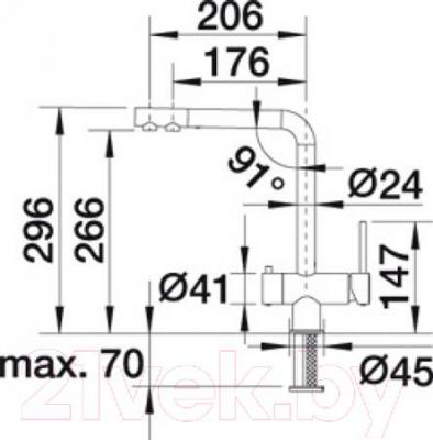 Смеситель Blanco Fontas 518506 (белый-хром) - технический чертеж