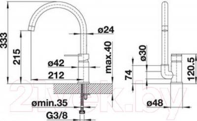 Смеситель Blanco Jeta 519729  (алюметаллик) - технический чертеж