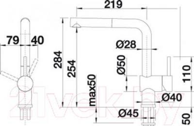 Смеситель Blanco Linus 517183 (нержавеющая сталь) - технический чертеж