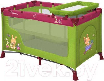 Кровать-манеж Lorelli Nanny 2 (Green-Pink Bunnies) - общий вид