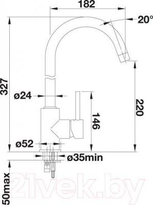 Смеситель Blanco Mida 519416 (алюметаллик) - технический чертеж