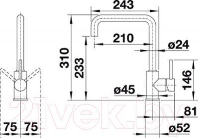 Смеситель Blanco Mili 519413 - технический чертеж