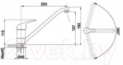 Смеситель Blanco Wega 511880 (алюметаллик) - технический чертеж