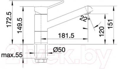 Смеситель Blanco Zenos 518783 (темная скала-хром) - технический чертеж