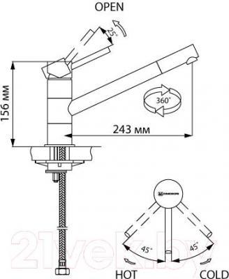 Смеситель Omoikiri Aogashima-ST (OAO-CR-ST-35) - технический чертеж
