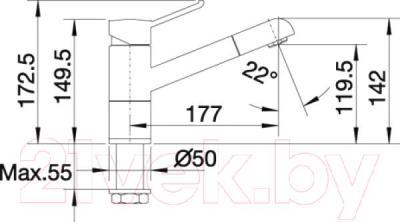Смеситель Blanco Zenos-S 517819 - технический чертеж