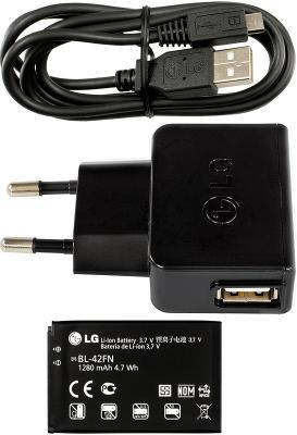 Смартфон LG P350 Red - зарядное, аккумулятор
