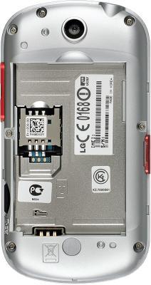 Смартфон LG P350 Red - вид сзади без крышки