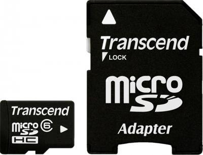 Карта памяти Transcend microSDHC (Class 6) 16 Gb + SD адаптер (TS16GUSDHC6) - общий вид с SD-адаптером