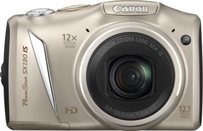 Компактный фотоаппарат Canon PowerShot SX130 IS SILVER - вид спереди
