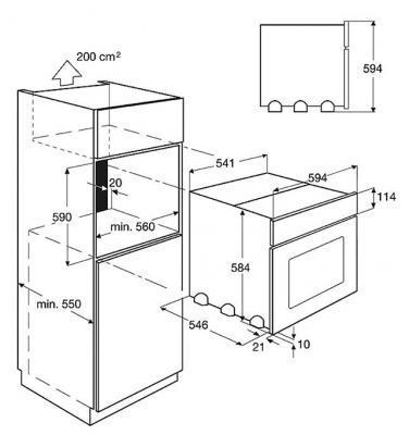 Электрический духовой шкаф Electrolux EOC 55100 X - схема установки