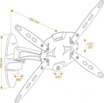 Кронштейн для телевизора Holder LCDS-5025 (металл) - схема