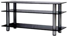 Стойка для ТВ/аппаратуры Поливестстрой PLc 37/3/4 Grafit-Black - общий вид