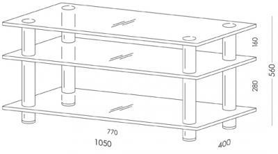 Стойка для ТВ/аппаратуры Поливестстрой PLc 37/3/4 Grafit-Black - габаритные размеры