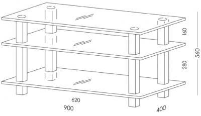 Стойка для ТВ/аппаратуры Поливестстрой PLq 37/3/4 - габаритные размеры