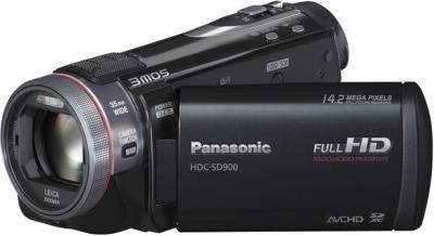 Видеокамера Panasonic HDC-SD900 - вид слева с открытым ЖК-дисплеем