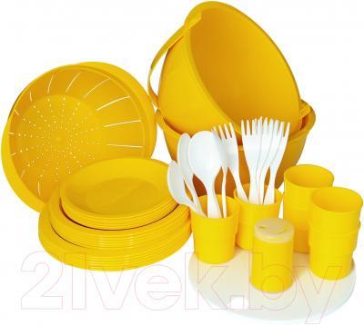Набор пластиковой посуды Белпласт Пикник с215-2830 (желтый)