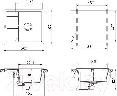 Мойка кухонная Schock Cristalite Optima 45D (альпина) - схема