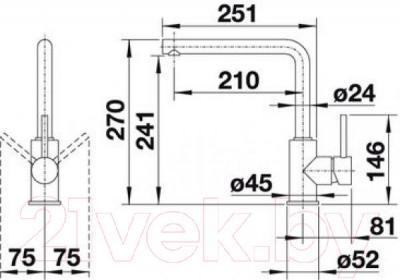 Смеситель Blanco Mila-S 519810 (хром) - технический чертеж