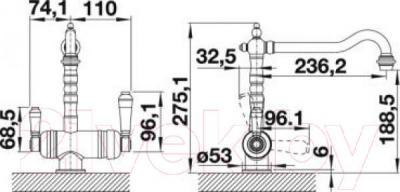 Смеситель Blanco Sora 520835 (полированная латунь) - технический чертеж