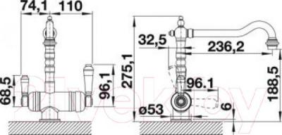 Смеситель Blanco Sora 520834 - технический чертеж