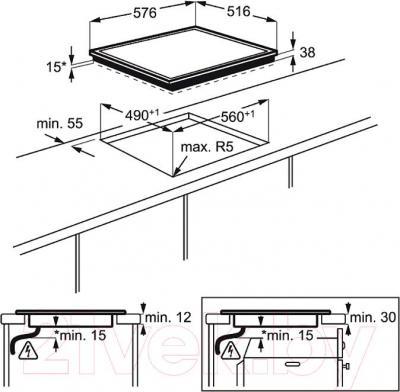 Электрическая варочная панель Electrolux EHF56240XK - схема