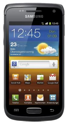Смартфон Samsung I8150 Galaxy W Black (GT-I8150 FKASER) - вид спереди